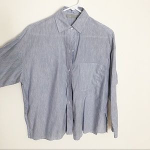 Vince. Cotton/linen Wide Button Blouse